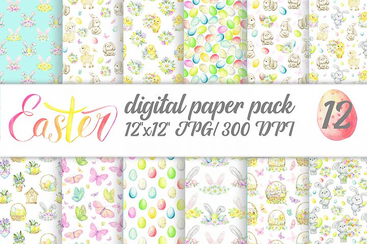 Easter floral digital paper. Watercolor Spring baby bunny