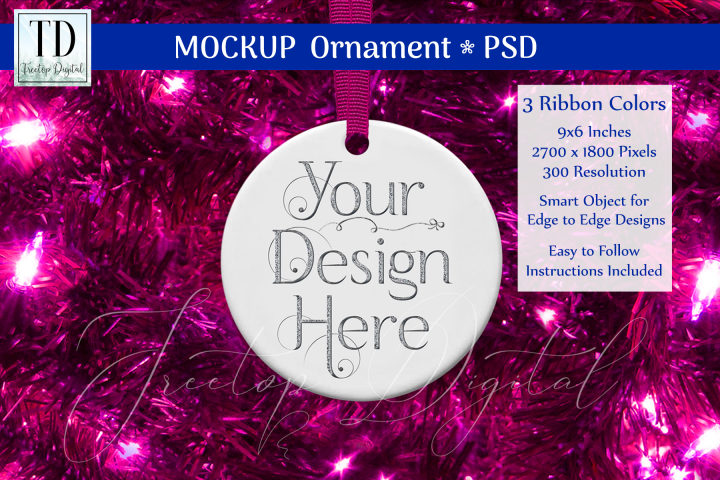 Round Christmas Ornament Mockup, Bauble Mock-Up, Pinks, PSD