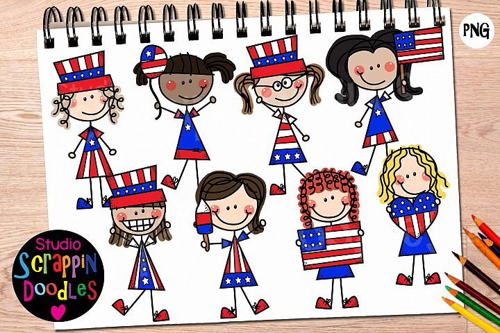 Doodle Girls 4th of July Clip Art