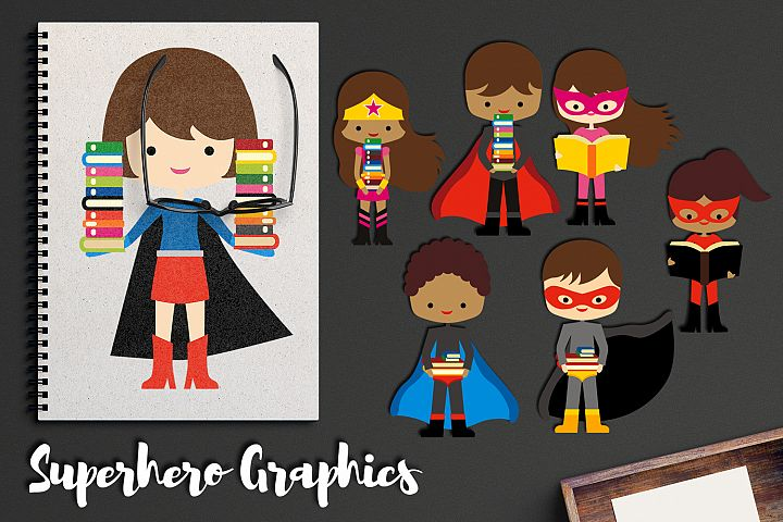 Brunette Superhero with books clipart, back to school graphi
