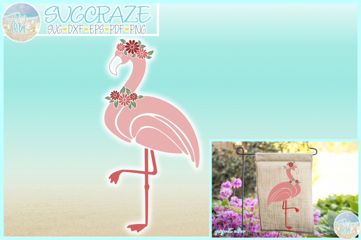 Flamingo with Flowers SVG Dxf Eps Png Pdf