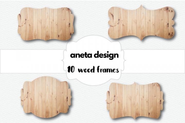 10 Wood Frames, Wood Digital Labels, Scrapbook Wood Frames