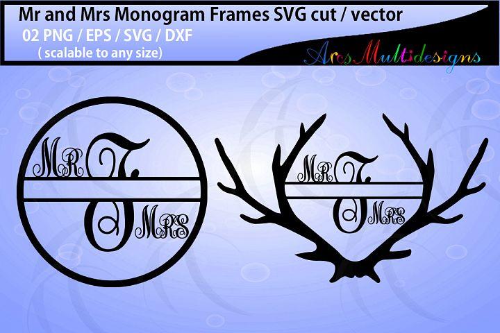Mr and mrs monogram / mr and mrs circle monogram vector / antler monogram svg / SVG / Eps /Dxf / Png