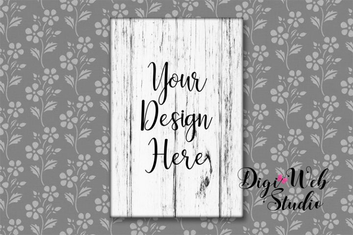 Wood Sign Mockup - Distressed White Wood Sign on Wallpaper