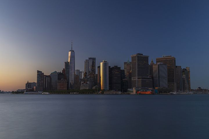 Financial district from Hudson river at sunset