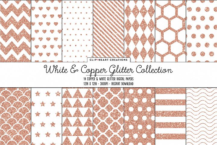 White and Copper Glitter Pattern Papers