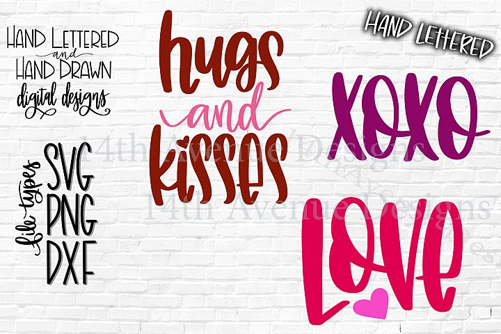 Valentines Day SVG, Love, Hugs and Kisses, XOXO Cut File