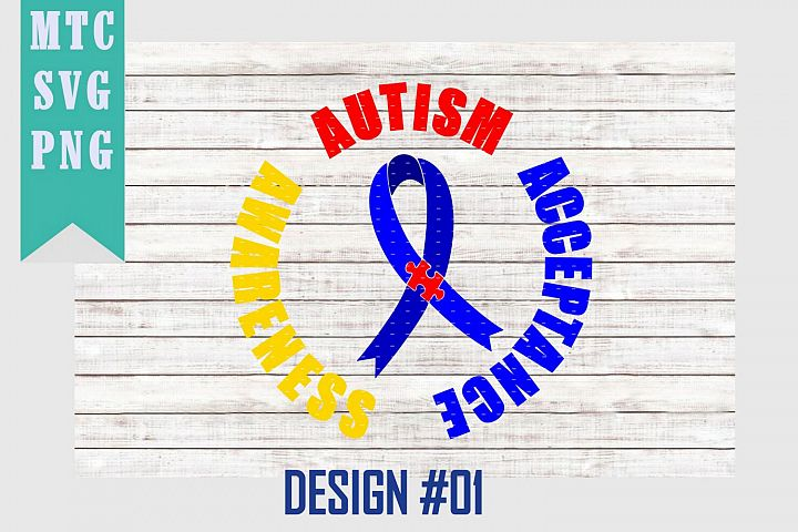 Autism Ribbon Puzzle Awareness Design #01 SVG Cut File