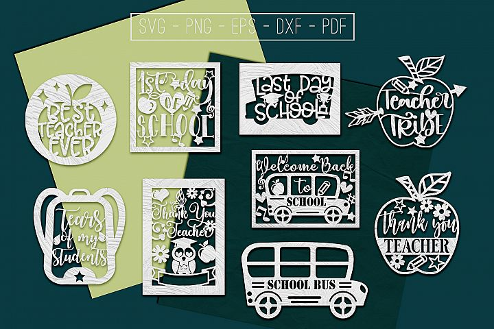 9 School Paper Cut Templates Bundle, Teacher SVG, PDF, DXF