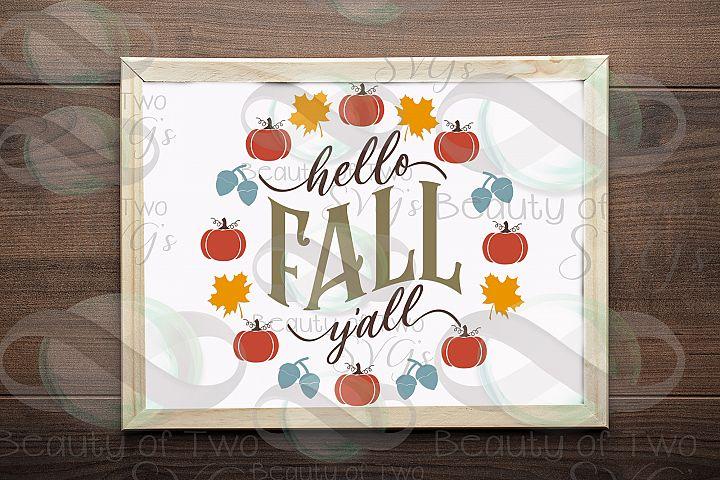 Fall wreath svg, Hello Fall Yall svg, autumn svg, pumpkin