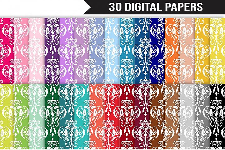Damask Digital Paper Bundle