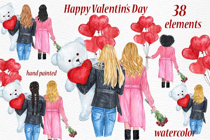Valentines day girls clipart, Best friend clipart
