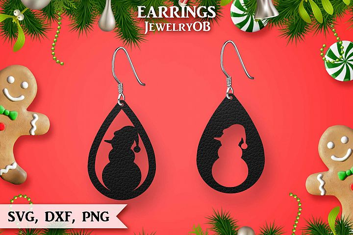 Christmas Earrings, Cut File, SVG DXF PNG, Snowman