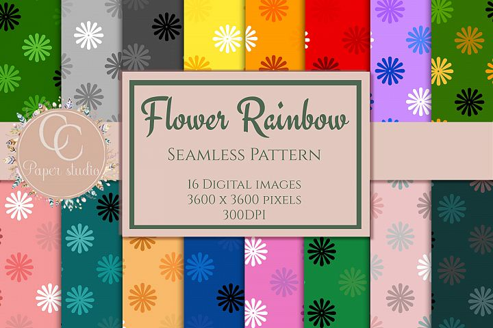 16 Rainbow coloured flower pattern digital paper