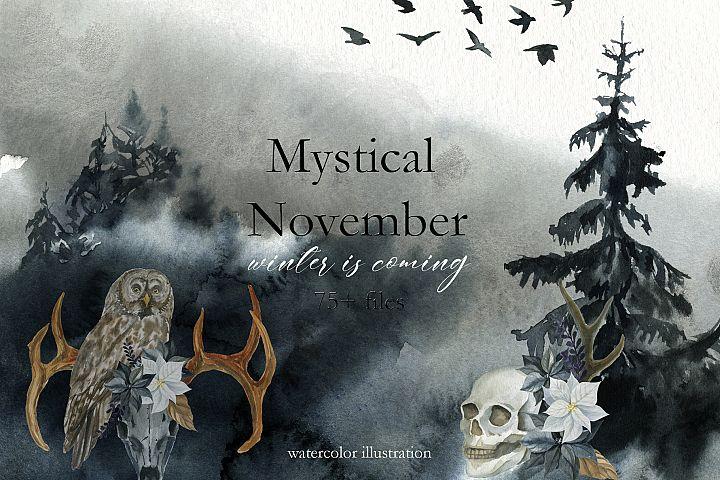 Mystical November. Watercolor set