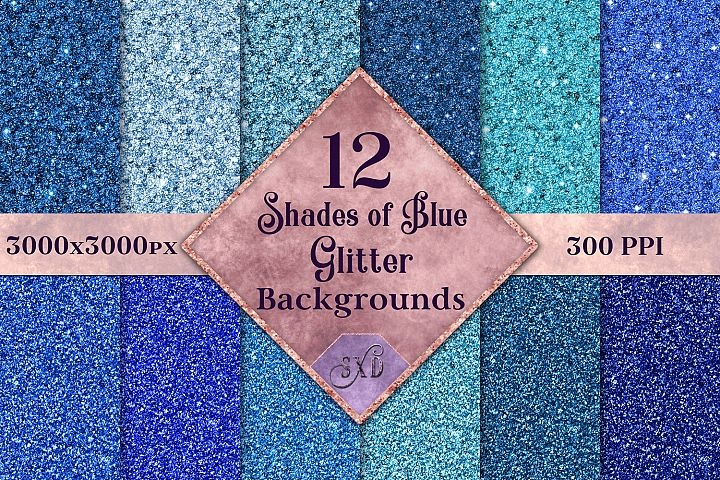 Shades of Blue Glitter - 12 Background Image Textures
