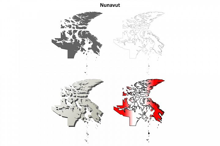 Nunavut blank outline map set