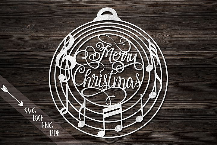 Christmas ornament bauble ball with music notes svg cut file