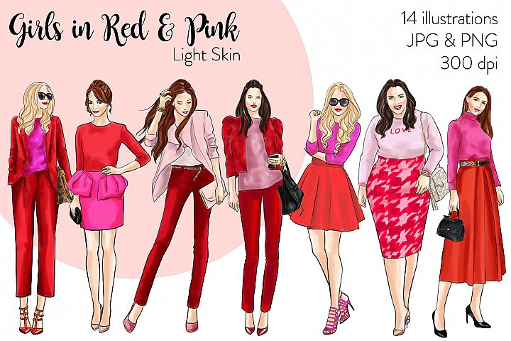 Fashion illustration clipart - Girls in Red and Pink - Light