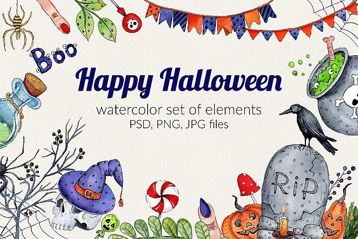 Watercolor set for Halloween