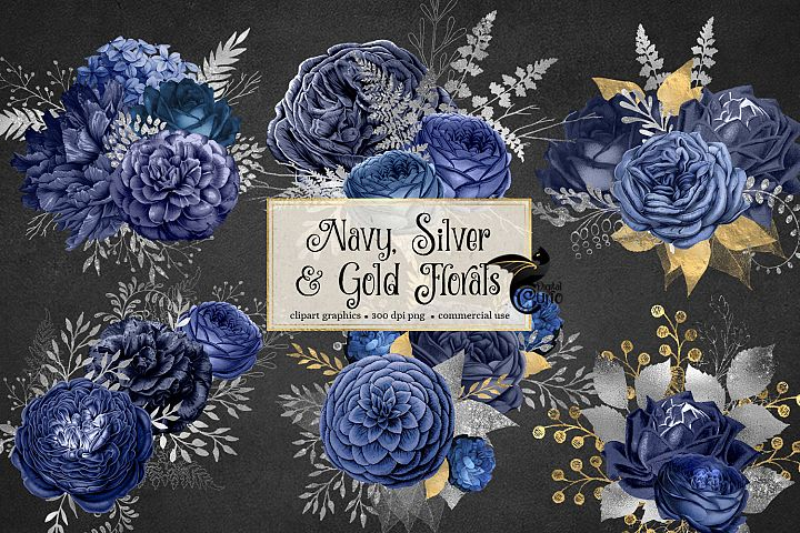 Navy Silver and Gold Floral Clipart