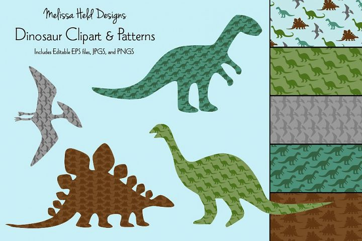 Dinosaur Silhouettes & Patterns