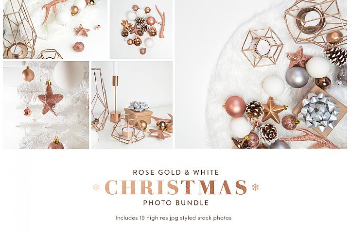 Christmas Styled Stock Photo Bundle - Rose Gold & White