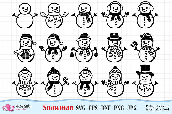 Snowman SVG, Eps, Dxf, Jpg and Png