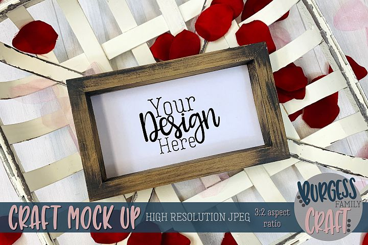 Valentine wood sign and basket Craft mock up