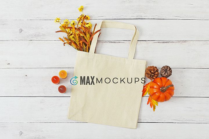 Canvas tote mockup, shopping bag, fall or Halloween
