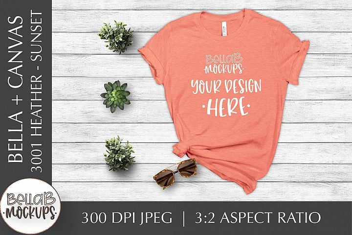 Bella Canvas 3001 Heather Womans T Shirt Mockup, Sunset