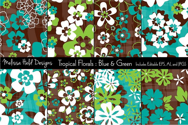 Blue & Green Tropical Flowers