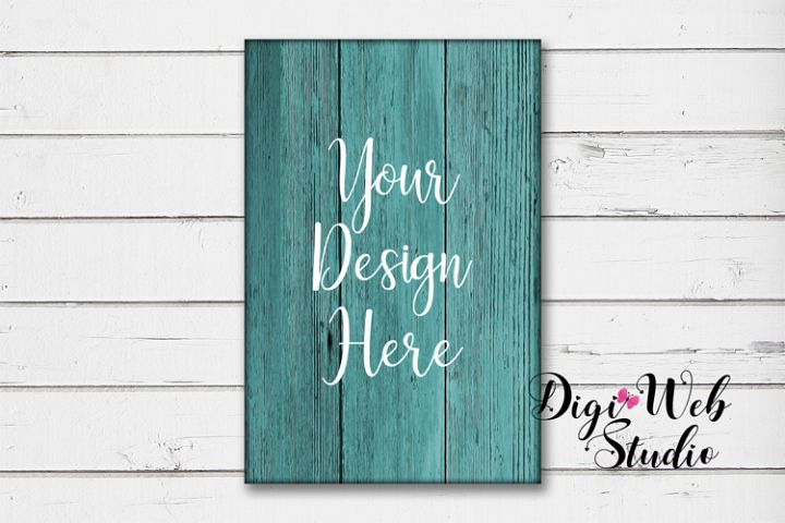 Wood Sign Mockup - Rectangle Teal Wood Sign on White Shiplap