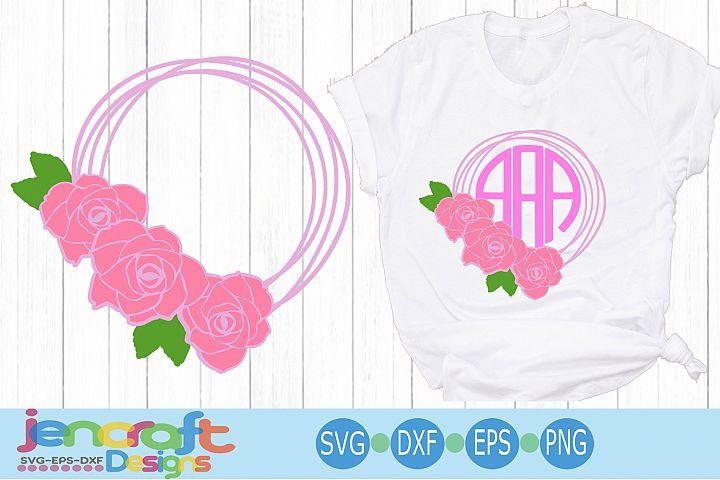 Flower SVG Flower Wreath Frame SVG, Roses Monogram Frame SVG