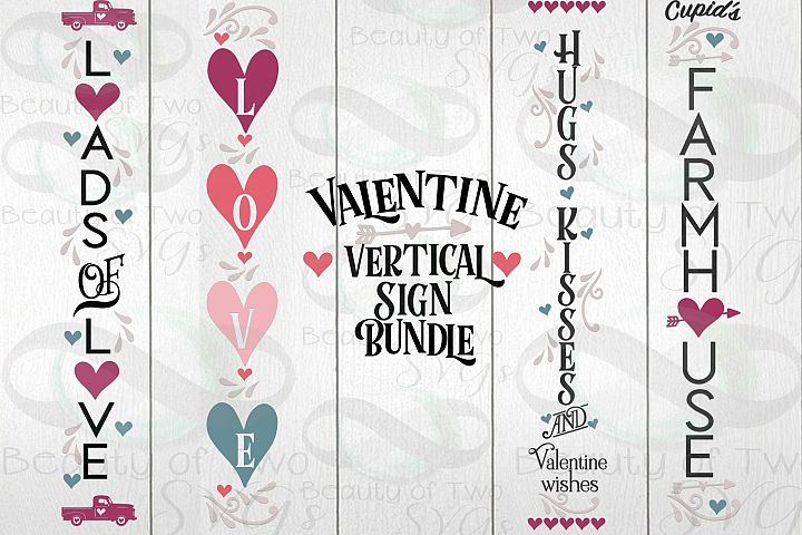 Valentines Vertical svg Sign Bundle, 4 Valentine svg designs