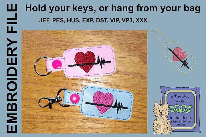 ITH Heart Healthy Vinyl Key Fob or Bag Tag - Snap Tab Machin