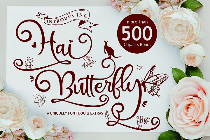 Hai Butterfly Font Duo and 500 Vectors