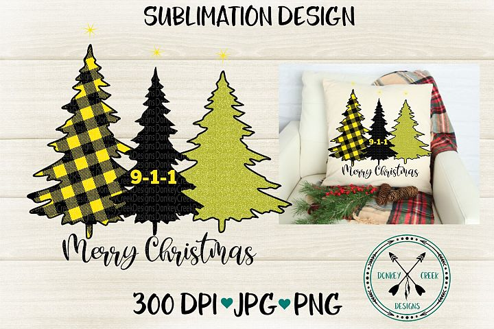 9-1-1 Dispatcher Thin Gold Line Christmas Trees Sublimation