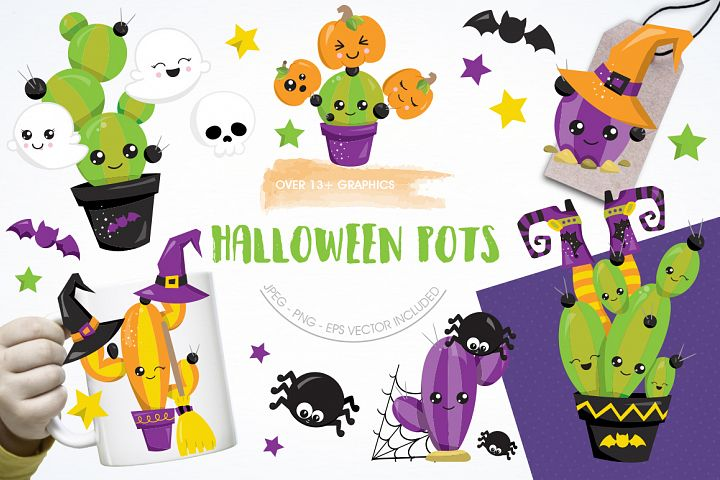 Halloween Pots graphic and illustrations
