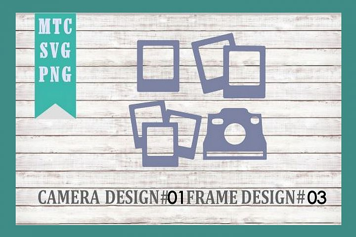 Polaroid Camera 01 & Film Frames 03 SVG Cut File