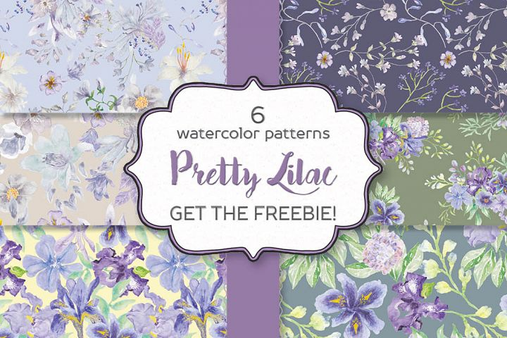Set of 6 patterns in pretty lilac shades