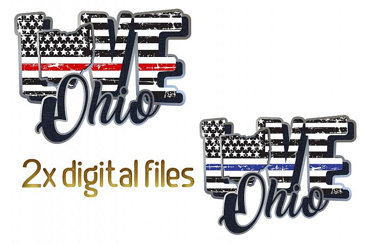Ohio Police and fire Line love State Map flag thin blue line