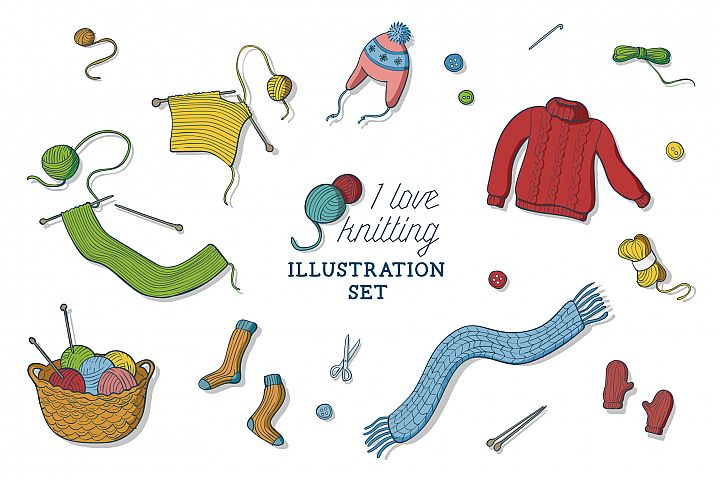 I love knitting illustration set