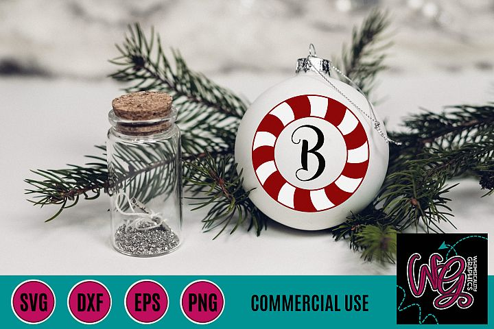 Candy Cane Monogram SVG DXF PNG EPS Comm