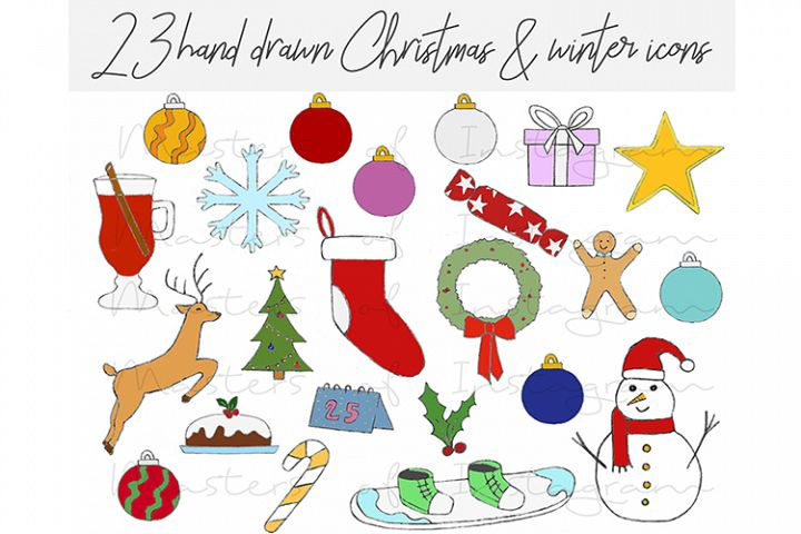 23 Hand Drawn Christmas Xmas Winter Icons
