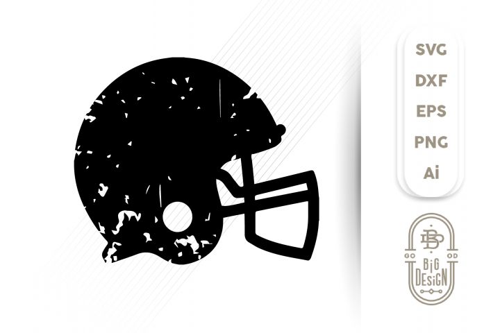 Distressed Football Helmet SVG - Football Svg