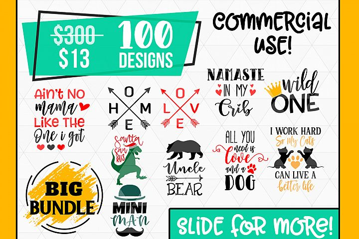 Big SVG Bundle, 100 Svg Cut Files, DXF formats Bundle