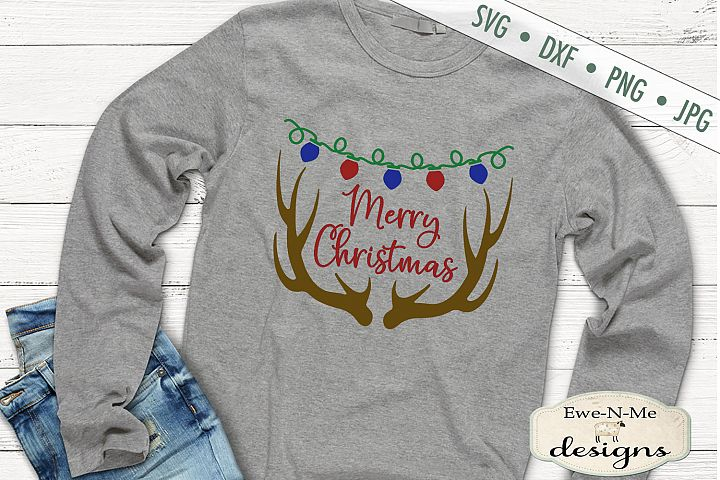 Merry Christmas - Antlers - Christmas Lights - SVG DXF Files