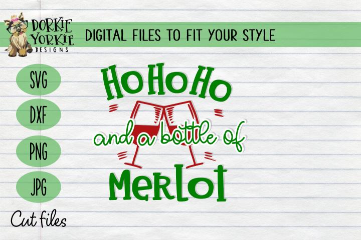 Ho Ho Ho and a bottle of Merlot Christmas, WIne Xmas - SVG
