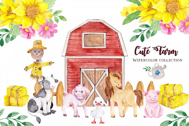 Cute Farm. Watercolor collection